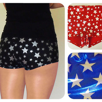 Shiny Star Print Roller Derby Shorts
