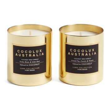 Cocolux Australia Island Fig, Cassis & Peach & Tonka Bean & Lime Zest Candle Duo ($90 Value) | Nordstrom