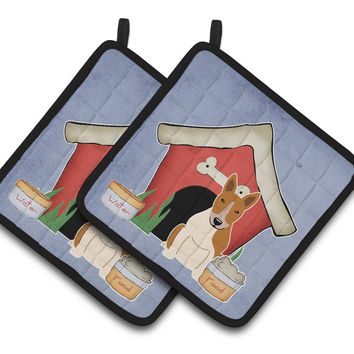 Dog House Collection Bull Terrier Red White Pair of Pot Holders