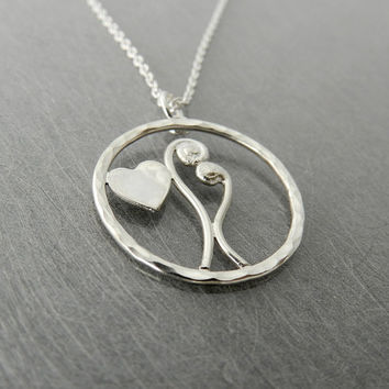 Sterling Silver Bean Sprouts in Love Necklace 2 by SilverMoth