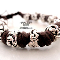 Silver bead hemp cord bracelet from Urban Zen Jewelry Boutique