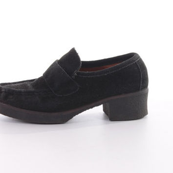 90s ESPRIT Suede Leather Loafers Black Slip On Minimal Goth Shoes Womens Size US 7 UK 5 Eur 37-38