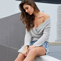 ♡ V neck off-shoulder elegant sweater  ♡