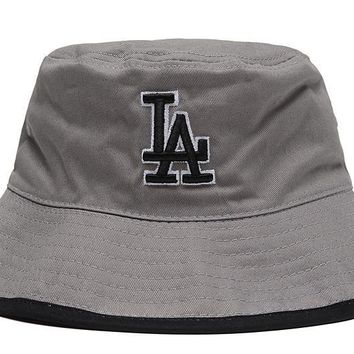 PEAPON Los Angeles Dodgers Full Leather Bucket Hats Grey