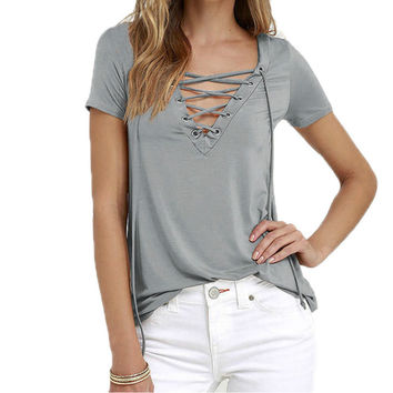 Sexy V-Neck Summer Women T-Shirts Solid Casual Ladies T Shirts Short Sleeve Hollow Out Tee Shirts Top Plus Size 8 Colors X0130