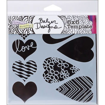 Crafter's Workshop Template 6X6-Mix & Match Hearts