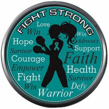 Fight Strong Ovarian Cancer Teal Ribbon Support Awareness Believe Find Cure 18MM - 20MM Snap Jewelry Charm New Item