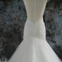 See Through Back Zipper Closure with Buttons Covered Mermaid Wedding Dress with Lace Appliques