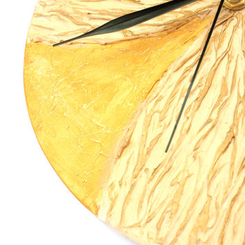 Yellow GOLD WALL CLOCK, unique abstract wall clock, rich texture, metallic colors office decor modern home decor design wall clock