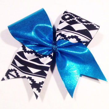 Teal Tribal Cheer Bow