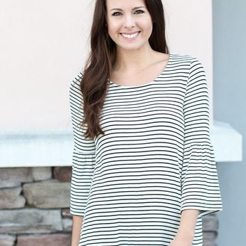 Tally Stripe Ruffle Top