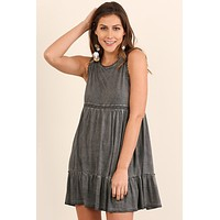 Lace Trim Sleeveless Dress - Ash
