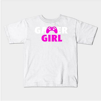Gamer Video Game Controller Girl Pink Kids Youth T-Shirt