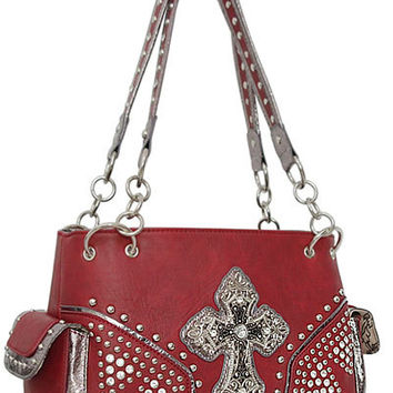 Cross Leather Designer Fashion Silver Bling Western Stitch Rhinestone Stud Trendy Chain Purse Handbag Red