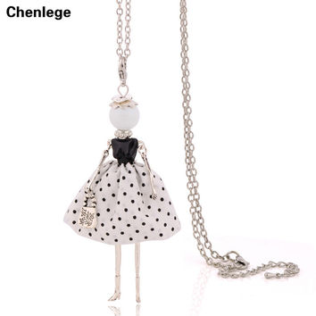 luxury elegant ladies necklaces free shipping 2017 new women long chain stylish french paris doll necklaces jewelry big choker