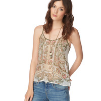 Aeropostale Womens Sheer Paisley Woven Camisole - Beige,