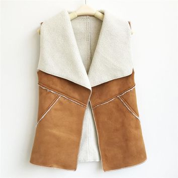 2017 Autumn Winter Women Suede Leather Faux Fur Vest Jacket Lady Fall Sleeveless Open Front Fake Fleece Waistcoat Fashion