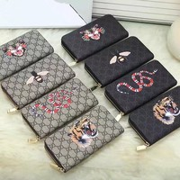 """""""Gucci"""" Unisex Purse Fashion Classic Tiger Head Bee Snake Pattern Logo Print Zip Long Section Multifunction Couple Clutch Wallet"""