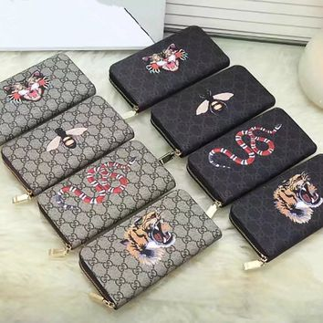 """Gucci"" Unisex Purse Fashion Classic Tiger Head Bee Snake Pattern Logo Print Zip Long Section Multifunction Couple Clutch Wallet"