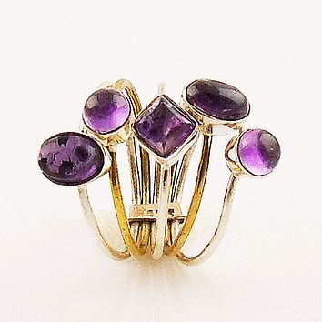 Amethyst Sterling Silver Two Tone Stack Ring