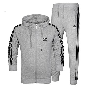 Trendsetter Adidas Men Cardigan Jacket Coat Pants Trousers Set Two-Piece
