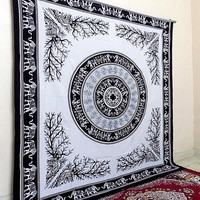 BLACK WHITE Mandala Elephant Tapestry Cotton Bedspread Bohemian Hippie Wall Hanging Throw Bedding Bed Sheet Ethnic Tribal Home Decorative