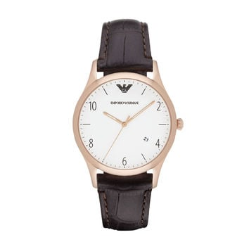ARMANI WATCH SIGNATURE MEN DRESS LEATHER BETA STAINLESS STEEL AR1915