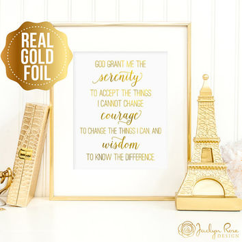 Serenity prayer print, Serenity prayer printable wall art, real gold foil Serenity prayer, bedroom decor, God grant me serenity sign