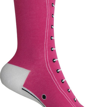 High Top Sneakers Crew Socks in Fuchsia