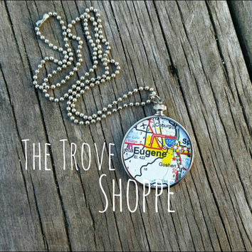 Oregon Map necklace... Portland, Eugene, Corvallis, Astoria, Bend, etc map pendant - genuine Oregon map.