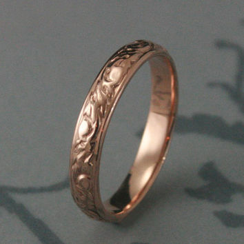 Solid 14K Rose Gold Going Barouque Wedding Band--14K Red Gold Swirl and Leaf Design Ring--Custom made to YOUR size