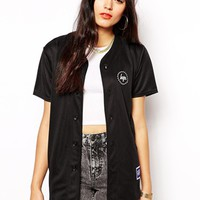 Hype Button Up Baseball Jersey Top With Back Logo - Black
