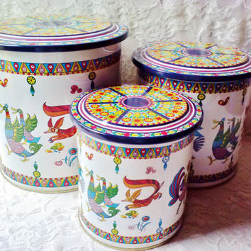 New Canister Set Vintage Colorful Rooster Chicken Fox 3 Unique Metal Nesting Tins Unused Kitchen Storage Container Country Farm Home Decor