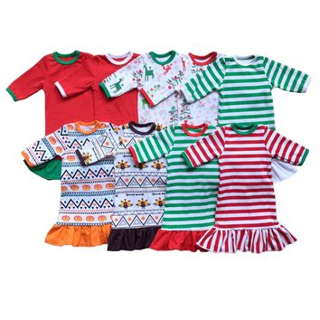"""18"""" the American Girl Doll Christmas Nightgown Ruffle Dress Girls halloween Pajamas thanksgiving personalized initial doll Dress"""