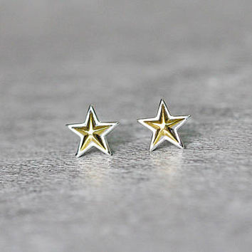 Shining Golden Star Earrings, Sterling Silver Star Stud Earrings, Geometric Earrings, Star Studs,Geometric Jewelry,Star Jewelry,gift for her