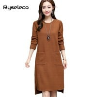 Ryseleco Women Winter Basic Dresses Ladies Retro Style O-neck Long Sleeve Big Pockets High Low Straight Casual Vestido Plus size