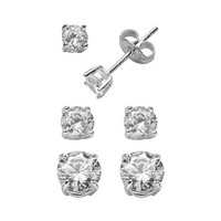 Sterling Silver Cubic Zirconia Stud Earring Set (White)