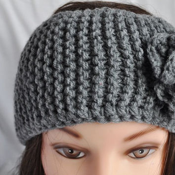 Knitted Grey Headband, dark grey color, fall winter wear, for adult or young girl, Christmas gift