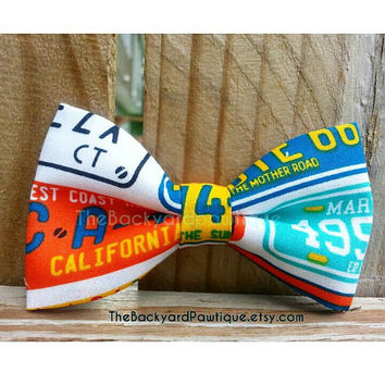 Bow Tie Collar Slide, license plate bowtie, Colorful bowtie, bowtie for dog, bow ties for pets, bowtie collar slider, super cool dog bowtie