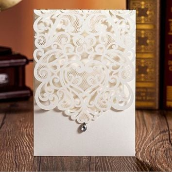 50pcs FREE SHIPPING White Vine Vintage Flower Wedding Invitation Card Cover Only, With diamond,NO inner insert,NO envelope