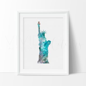 Statue of Liberty, New York City Watercolor Art Print