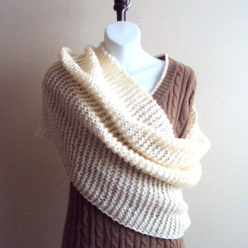 Knit  Wrap Capelet Infinity Scarf Ivory/Cream Tube Scarf  Knit Chunky Cowl Capelet Women Men Winter Accessories Valentine's Day Gift