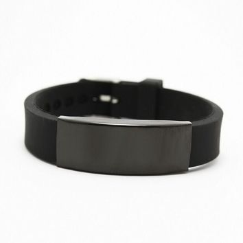 Power Energy Wristbands Fashion Black Silicone Bands Bracelets Punk Jewelry Men Bracelet Stainless Steel Cuff Bangle