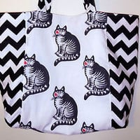 Cat Tote B. Kliban Kiss Tabby Shoulder Bag Purse NEW Pocket Large Chevron Cotton