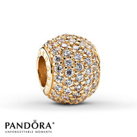 Pandora Charm Clear CZ 14K Yellow Gold