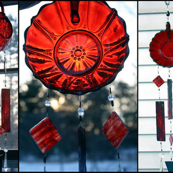 Ruby Red Depression Glass Stained Glass Wind Chimes Indoor Outdoor Garden Decor Windchime