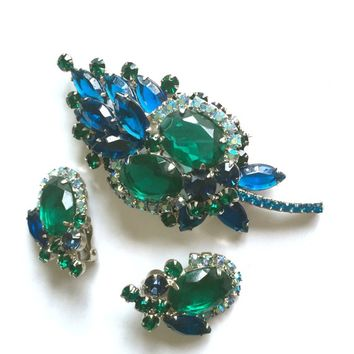 Juliana D&E Demi, Emerald Green Oval and Capri Blue Marquis Rhinestones, Silver Tone Metal, Special Occasion, Wedding Set, Gift for Her