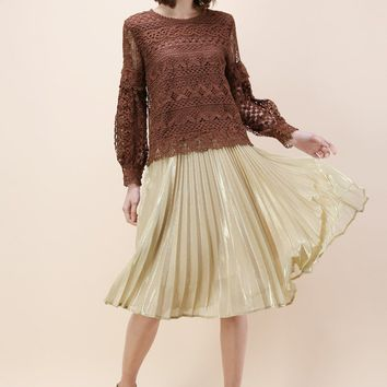 Shine Your Way Pleated Midi Skirt in Gold