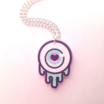 Pastel Black and Mint Dripping Eyeball Necklace