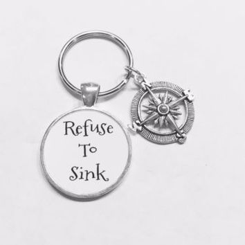 Compass Refuse To Sink Inspirational Nautical Direction Graduation Gift Keychain